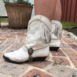 Vintage White Leather Cowgirl Boots
